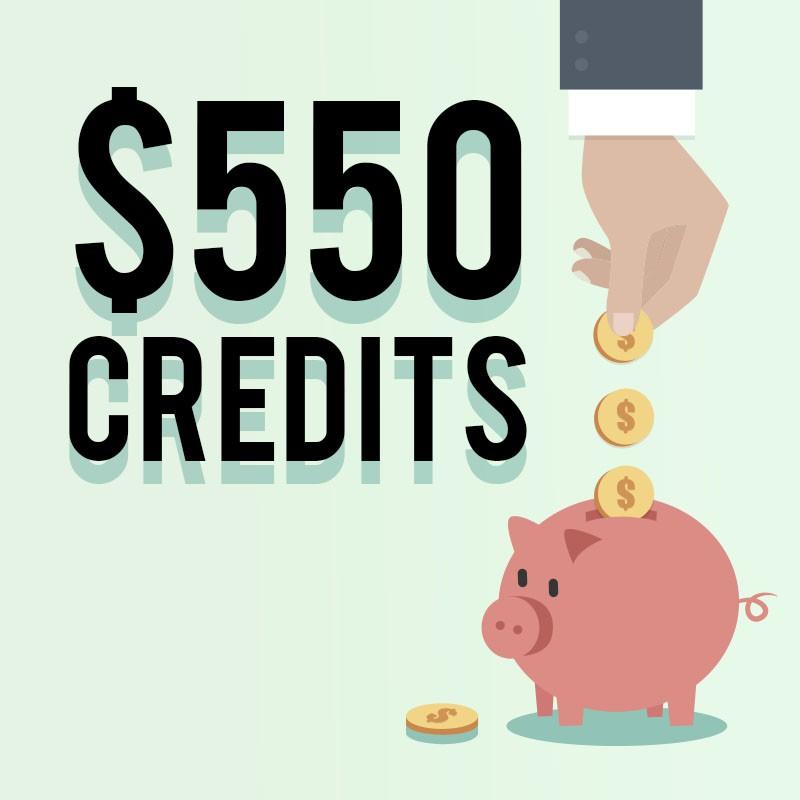 550 credits